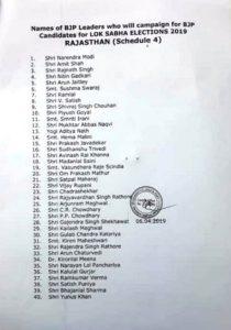 loksabha election rajasthan star pracharak leaders